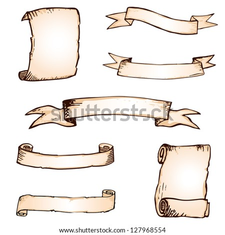 Set of hand drawn banner and ribbons - stock vector