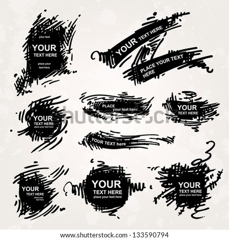 Set of hand-drawn banners - stock vector