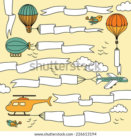Set of hand drawn banners and ribbons carried by the planes, hot air balloons and airship - stock vector