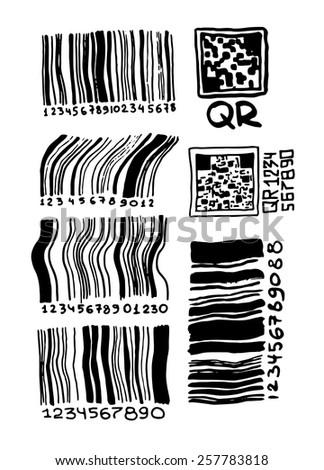 Set of hand drawn bar codes and qr codes. - stock vector