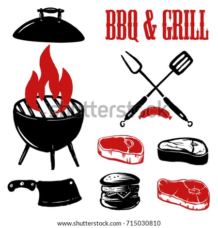 set hand drawn bbq grill elements stock photo photo vector rh shutterstock com bbq vector logo bbq vector icon