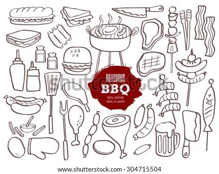 Set of hand drawn BBQ doodles - stock vector