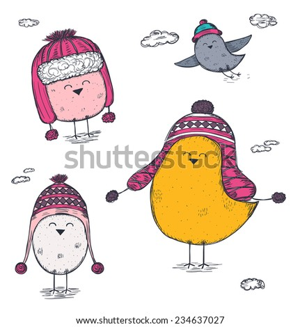 set of hand drawn birds wearing a winter hats