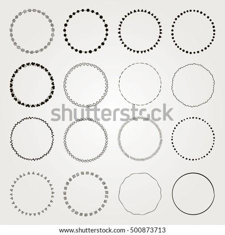 Set Of Hand Drawn Black Doodle Circle Logo Badge Elements Borders Frames