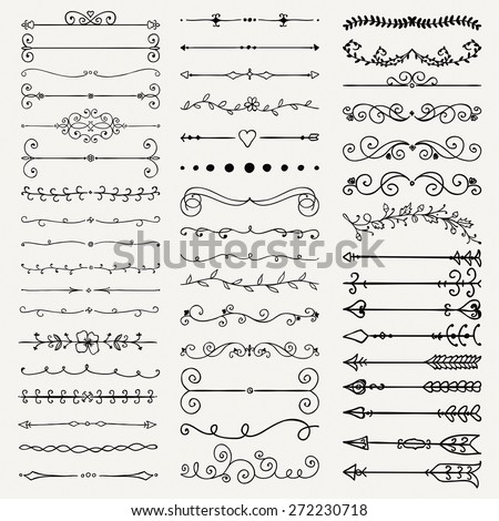 Set of Hand Drawn Black Doodle Design Elements. Decorative Floral Dividers, Arrows, Swirls, Scrolls. Vintage Vector Illustration. - stock vector