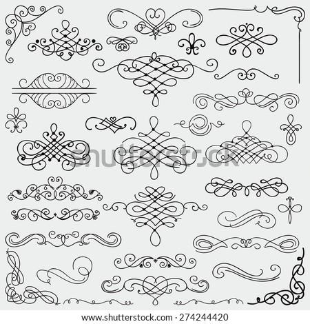 Set of Hand Drawn Black Doodle Design Elements. Decorative Swirls, Scrolls, Text Frames, Dividers. Vintage Vector Illustration. - stock vector