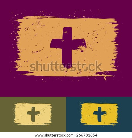 Set of hand-drawn brushed cross banners with paint splatter - stock vector