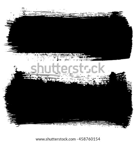 Set of hand drawn brushstrokes vector illustration. Abstract ink grunge banners for design.