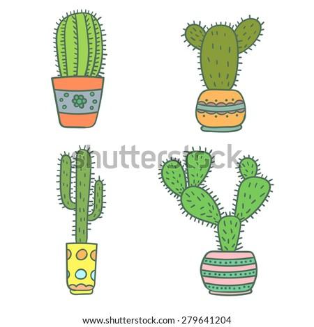 Set of hand drawn cactus. Vector illustration. - stock vector