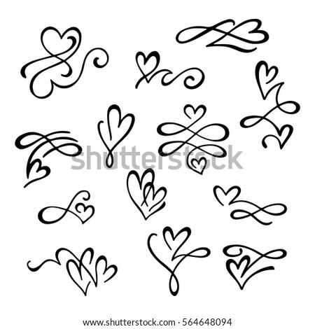 set hand drawn calligraphic design elements stock vector