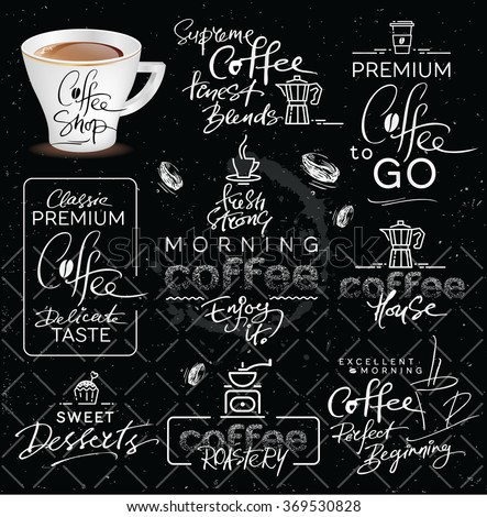 Set of Hand Drawn Calligraphic Vector Coffee Labels - stock vector