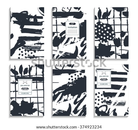 Set of hand drawn cards. Abstract backgrounds. Pastel hipster patterns for placards, posters, banners, flyers - stock vector
