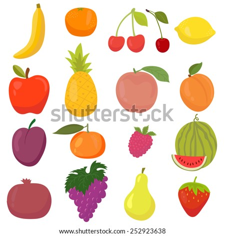 Set of hand drawn, cartoon fruits. Fresh and juicy. Vector illustration