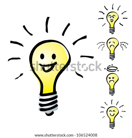 Set of Hand drawn, cartoon light bulbs, Tungsten bulb in mood or emotion happy, smile, sad, indifferent, cheerful and dizzy - stock vector