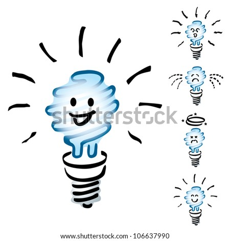 Set of Hand drawn, cartoon light bulbs, white energy saving bulb or Saver Lightbulb in mood or emotion happy, smile, sad, indifferent, cheerful and dizzy - stock vector