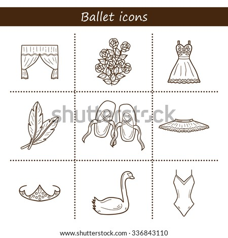 Set of hand drawn cartoon objects on ballet theme: shoes, dress, swan, tutu - stock vector