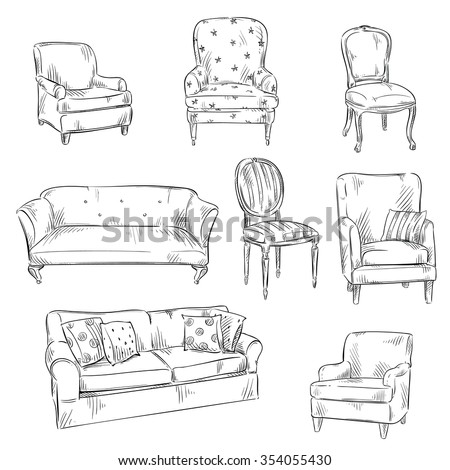 set of hand drawn chairs and sofas, vector illustration  - stock vector