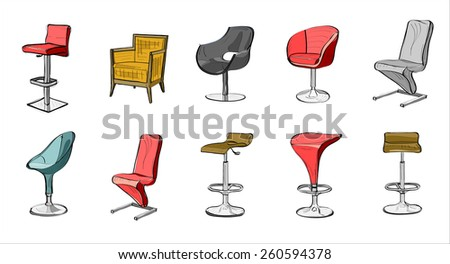 Set of hand drawn chairs interior  - stock vector