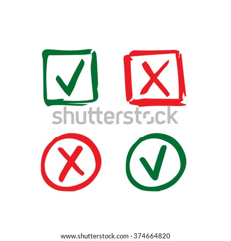 Set of hand-drawn check mark icons. Tick and cross in circle and square frame - stock vector