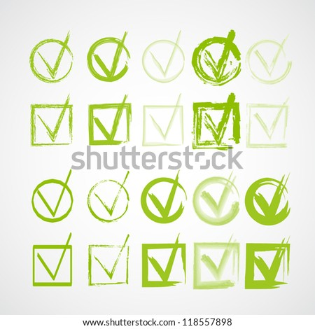 Set of hand-drawn check marks, sketch , watercolor and grunge eco green ckeckmarks for your business website, web page - stock vector