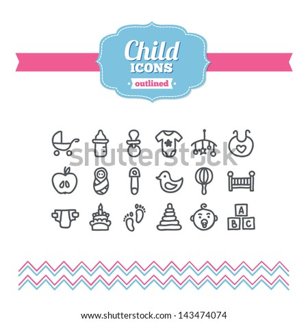 Set of hand drawn child icons - stock vector