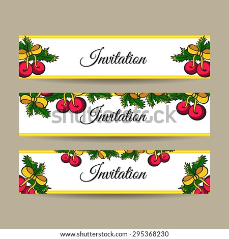Set of hand drawn christmas banners. Vector illustration. - stock vector
