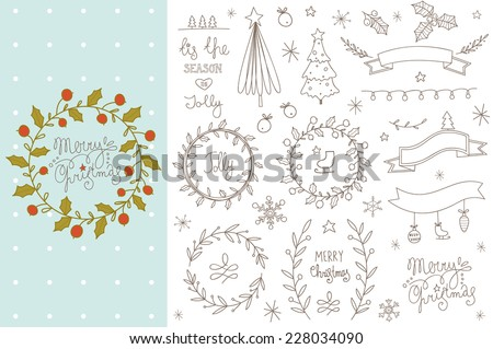 Set of hand drawn Christmas elements. EPS 10. No transparency. No gradients.  - stock vector