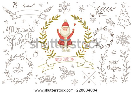 Set of hand drawn Christmas elements with Santa Claus. EPS 10. No transparency. No gradients.  - stock vector