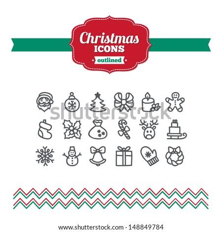 Set of hand drawn Christmas icons - stock vector