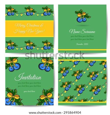 Set of hand drawn christmas postcards. Vector illustration. - stock vector