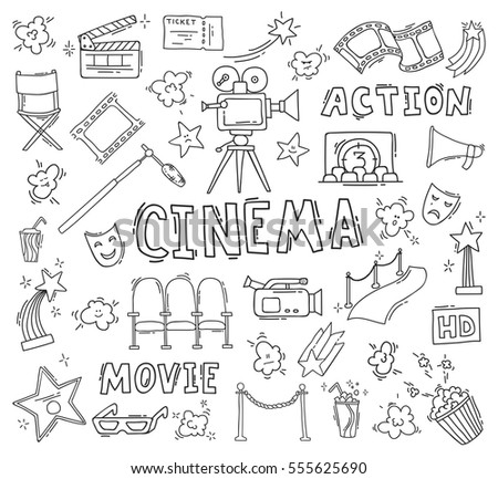 Set of hand drawn cinema icons