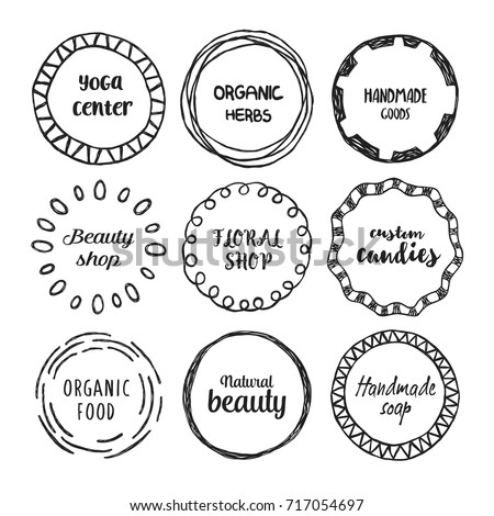 Set of hand drawn circle logo with the place for text.