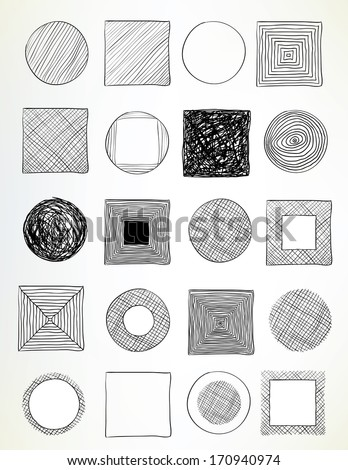 set of hand-drawn circles and squares used for frames, banners, buttons or web design - stock vector