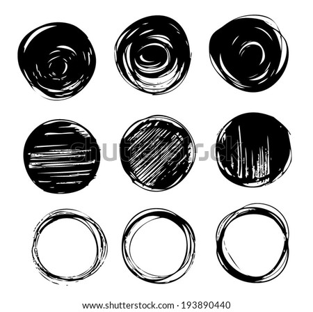 Set of hand drawn circles. Circular shape elements collection. Vector illustration. - stock vector