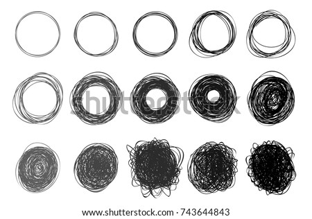 Using Lines In Drawing : Set hand drawn circles using sketch stock vector 2018 743644843