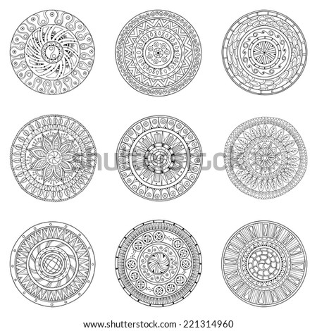 Set of hand drawn circles, vector logo design elements. Doodle style. Style Circle mandala vector black and white background. Ornamental Round Pattern. - stock vector