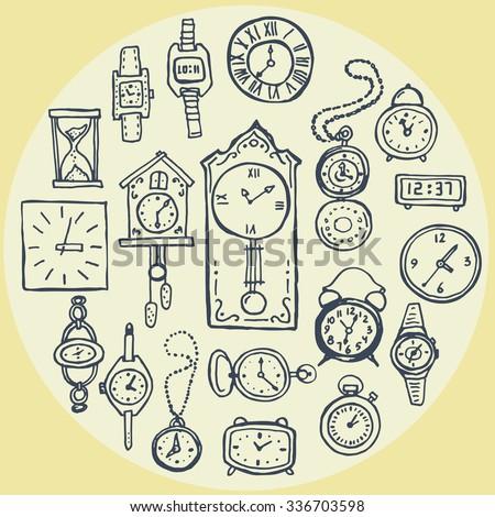 set of hand drawn clock doodles - stock vector