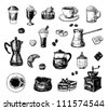 Set of hand drawn coffee related objects - stock vector