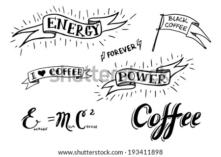 Set of hand drawn coffee theme elements, vector illustration - stock vector