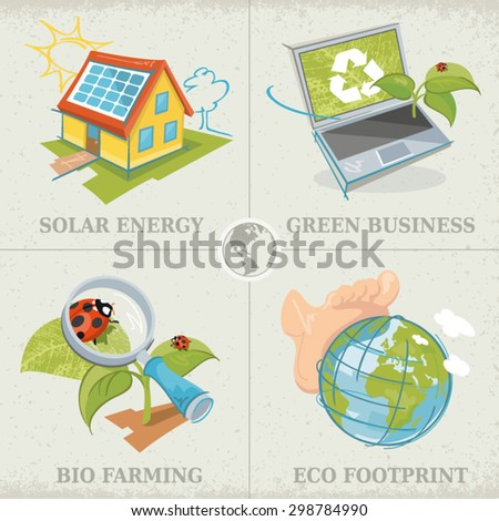 Set of hand-drawn color illustrations in sketch-style. Concepts related to solar energy, green business, bio farming and ecological footprint. - stock vector
