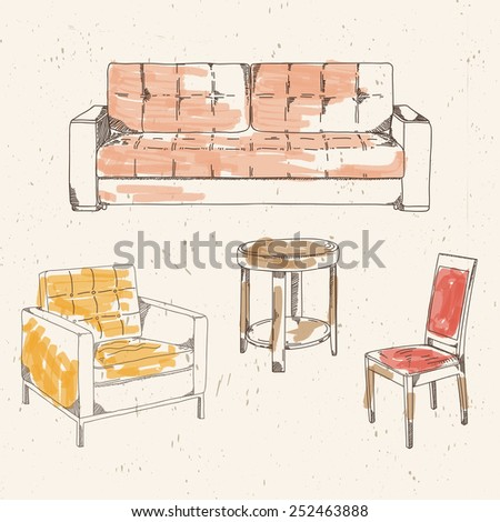 Set of hand drawn colored furniture: sofa, table, chair, armchair - stock vector