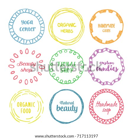 Set of hand drawn colorful circle logo with the place for text.