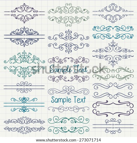 Set of Hand Drawn Colorful Doodle Design Elements. Decorative Floral Dividers, Borders, Swirls, Scrolls, Text Frames. Pen Drawing. Notebook Paper Texture. Vintage Vector Illustration. - stock vector