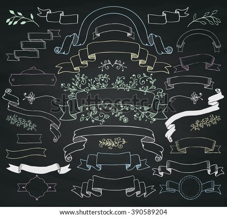 Set of Hand Drawn Colorful Doodle Ribbons. Decorative Floral Banners, Design Elements. Chalk Drawing Vintage Vector Illustration. Chalkboard Background Texture. - stock vector