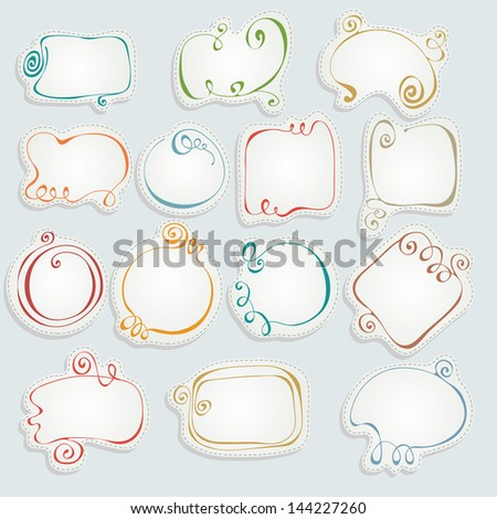 Set of hand drawn colorful frames - stock vector