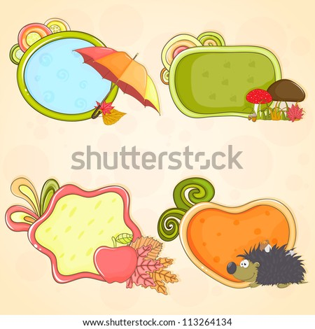 Set of hand - drawn colorful frames (speech boxes) on autumn theme - stock vector