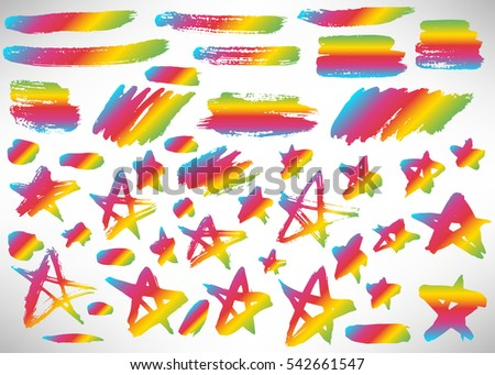 Set of hand drawn colorful grunge elements, banners, brush strokes isolated on white. Vector illustration.
