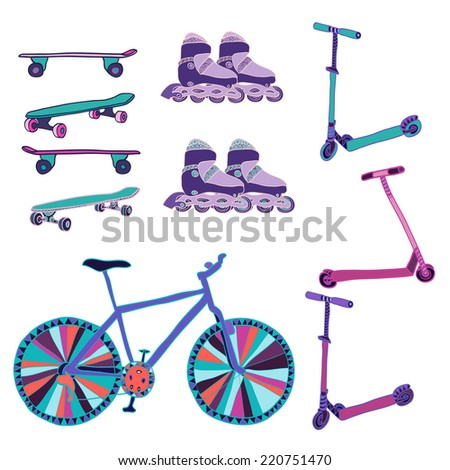 Set of hand drawn colorful scooters, rollers, bike and skateboards. Vector illustration.  - stock vector