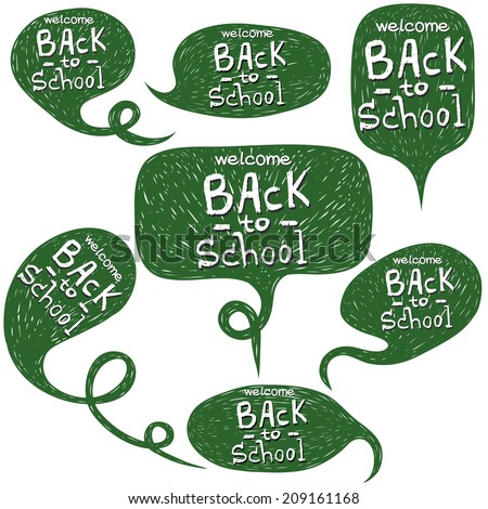 Set of hand drawn comic speech bubbles with Back To School lettering isolated on white background. - stock vector