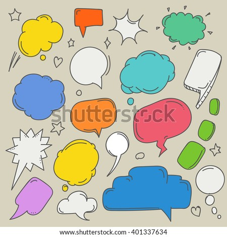 Set of hand-drawn comic style talk clouds. Template for a text